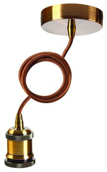 Suspension laiton antique et textile marron de Girard Sudron