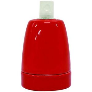 Douille E27 porcelaine rouge pour suspension