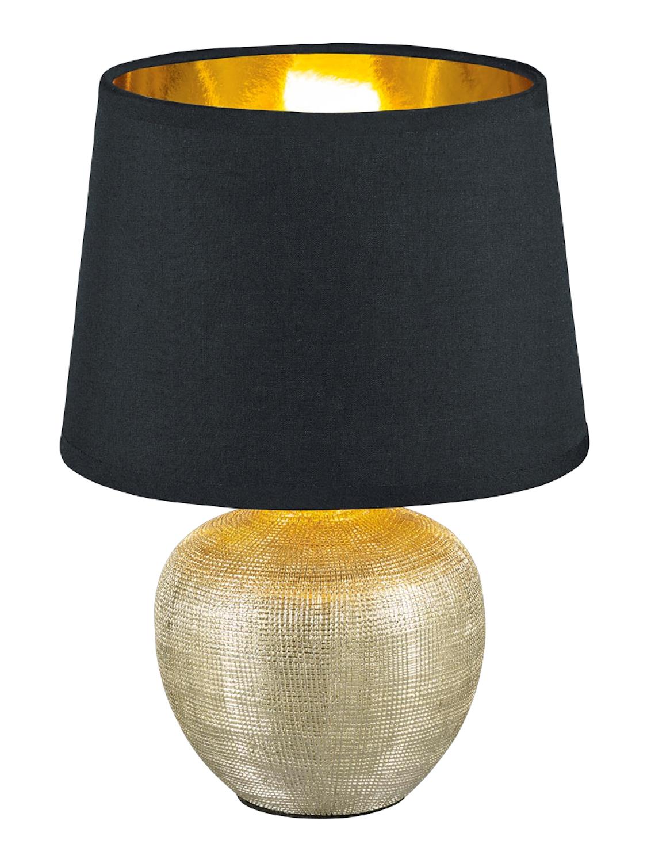 Lampe Luxor Pied Dore Abat Jour Noir Dore